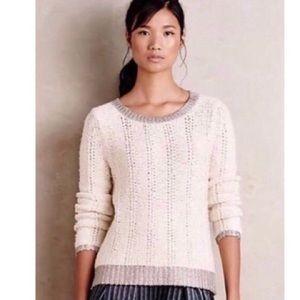 Anthropologie Moth Knit Sweater w/ Metallic Trim